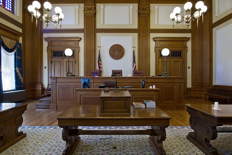 Empty, lit courtroom
