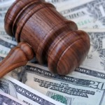 Gavel with cash, bankruptcy